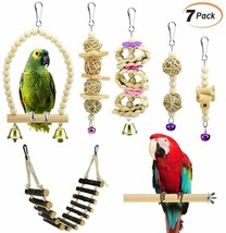 Bird Toys Set of 7 Natural Wooden Toys Swing, Perch, Bridge, Hanging Toys - £22.04 GBP