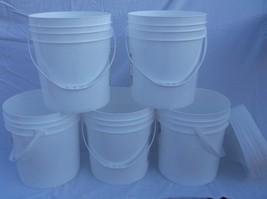 5 FOOD GRADE USED PLASTIC 4 GALLON ROUND BUCKETS PAILS W LIDS HANDLES ST... - $19.59