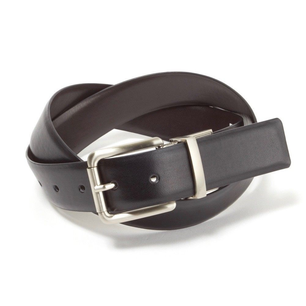 New Calvin Klein Men's Reversible Smooth Leather 32mm Belt Black & Brown 7545696