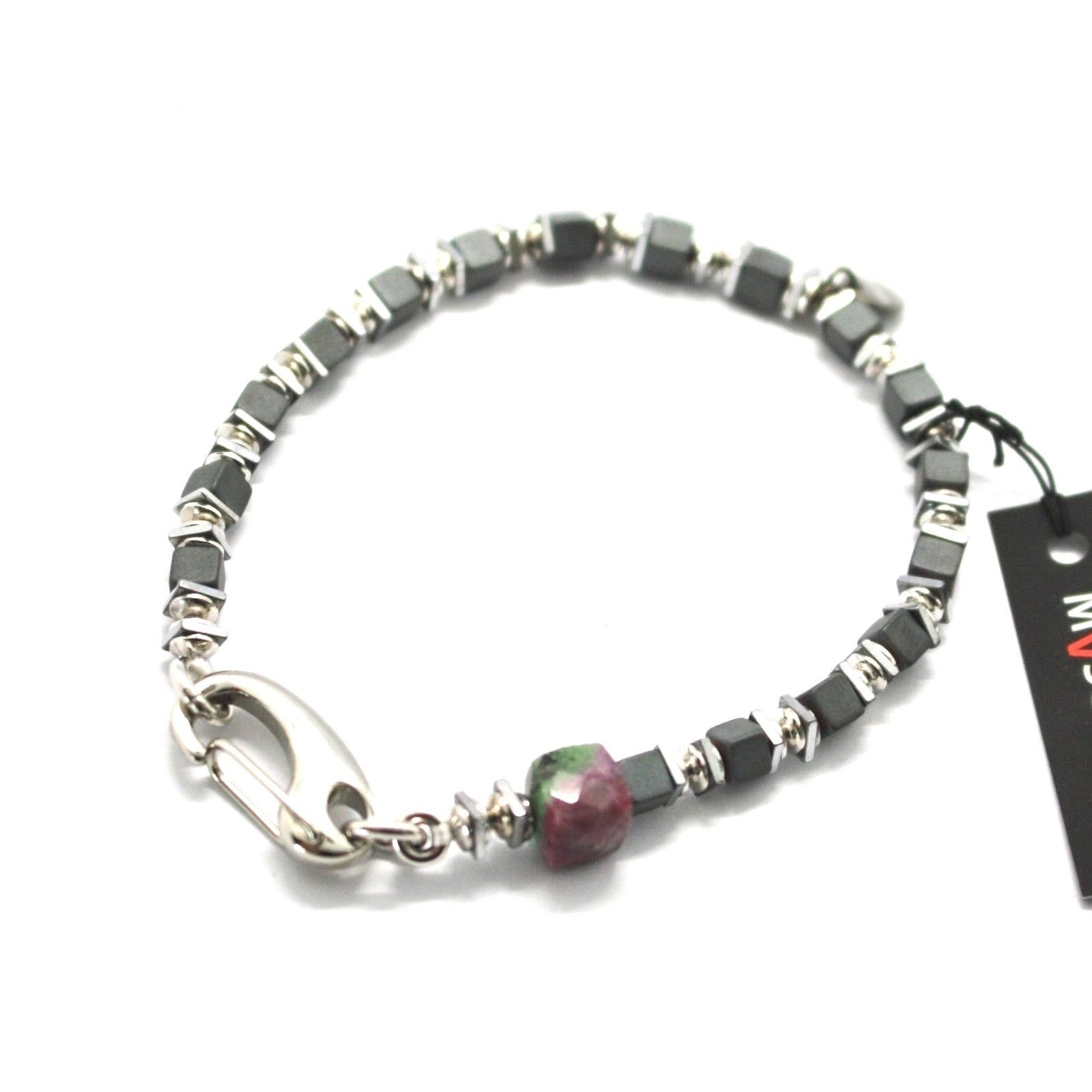 SILVER 925 BRACELET RUBY ZOISITE AND HEMATITE BPAN-9 MADE IN ITALY BY MASCHIA
