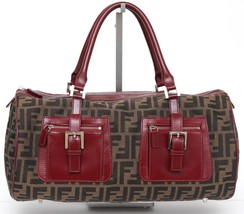 FENDI Zucca Bag Tote Canvas Brown Tobacco Burgundy Leather Pockets Silve... - $710.13