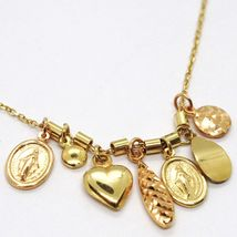 18K YELLOW ROSE GOLD NECKLACE, MIRACULOUS MEDAL, HEART, DROP, DISC, PENDANTS image 4