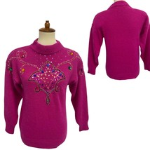 Vintage MarieaKim women's sweater silk knit beaded sequined pink size M - $33.55