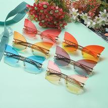 Sen Maries Butterfly Rimless Sunglasses Women Luxury Brand Designer Fashion Over image 6