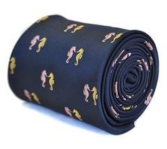 Frederick Thomas navy blue tie with seahorse design