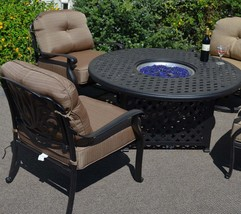 Fire Pit Table Set Elisabeth Propane 5pc Patio Furniture Outdoor Dining Aluminum image 2