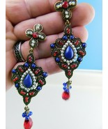 Vintage Post Dangle Boho Drop Colorful Hippy Belly Dancer Rhinestones   ... - $19.79