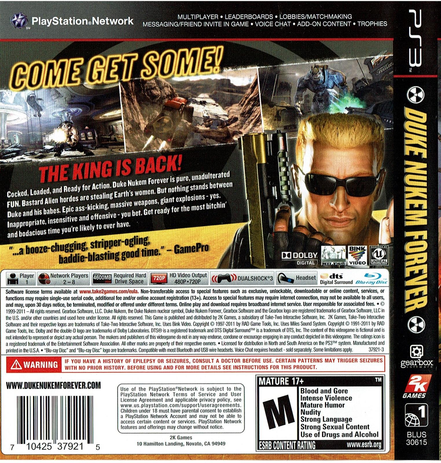 Duke Nukem Forever, (PlayStation 3, PS3) Video Game Complete, Like New!