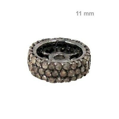 Primary image for 0.75 Ct Pave Diamond Spacer 925 Sterling Silver Rondelle Finding Jewelry 11 mm