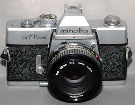 MINOLTA srT201 35mm VINTAGE SLR Film Camera MD f/2 50mm Lens JAPAN - $84.60