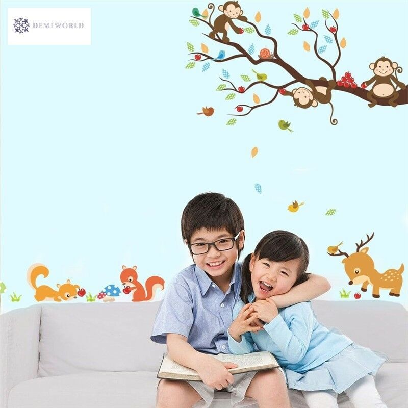 Home Decorat: Cartoon Forest Tree Monkey Squirrel Deer Wall Decals For