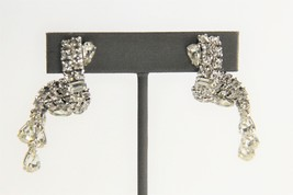 ESTATE VINTAGE SIGNED KRAMER OLD HOLLYWOOD GLAM RHINESTONE DANGLE EARRINGS - $65.00