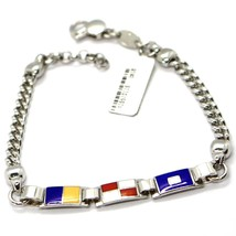 925 STERLING SILVER BRACELET ALTERNATE GLAZED NAUTICAL FLAGS & GOURMETTE CHAIN image 2