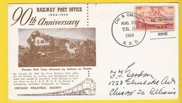 CHI & OMAHA RAILWAY POST OFFICE 90TH ANNIVERSARY AUGUST 29 1954  - $1.98