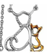 Cat Kitten Mother and  Child Necklace 14K gold and Sterling Silver MOTHE... - $24.20
