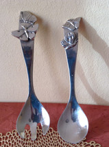 Polished Stainless Steel Serving Spoon and Fork  Utensils with Butterflies - $282,17 MXN