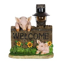 Exhart Pig Statue - Pig Welcome Sign w/Solar Decorative Lantern Interior... - $40.53