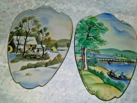 Vintage set of Lefton Hanging plates. WInter and Spring scenes.. - $39.55
