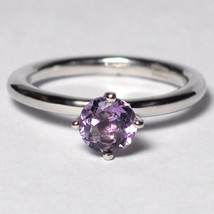 Natural Purple Amethyst Solitaire Promise Ring Womens Sterling Silver 4 ... - $49.00