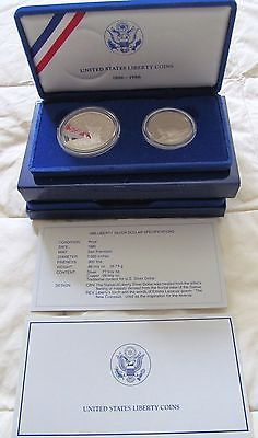 1986 UNITED STATES LIBERTY PROOF SILVER AND HALF-DOLLAR 2 COIN PROOF SET image 6