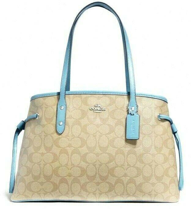 New Coach 57842 Drawstring Carryall handbag Light Khaki / Powder Blue
