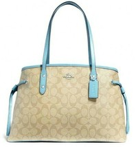 New Coach 57842 Drawstring Carryall handbag Light Khaki / Powder Blue - $119.00