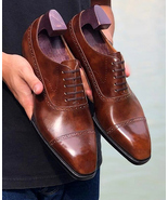 New Mens Brown Leather Semi Brogue Dress Custom Made Formal Lace up Shoes - $159.99+