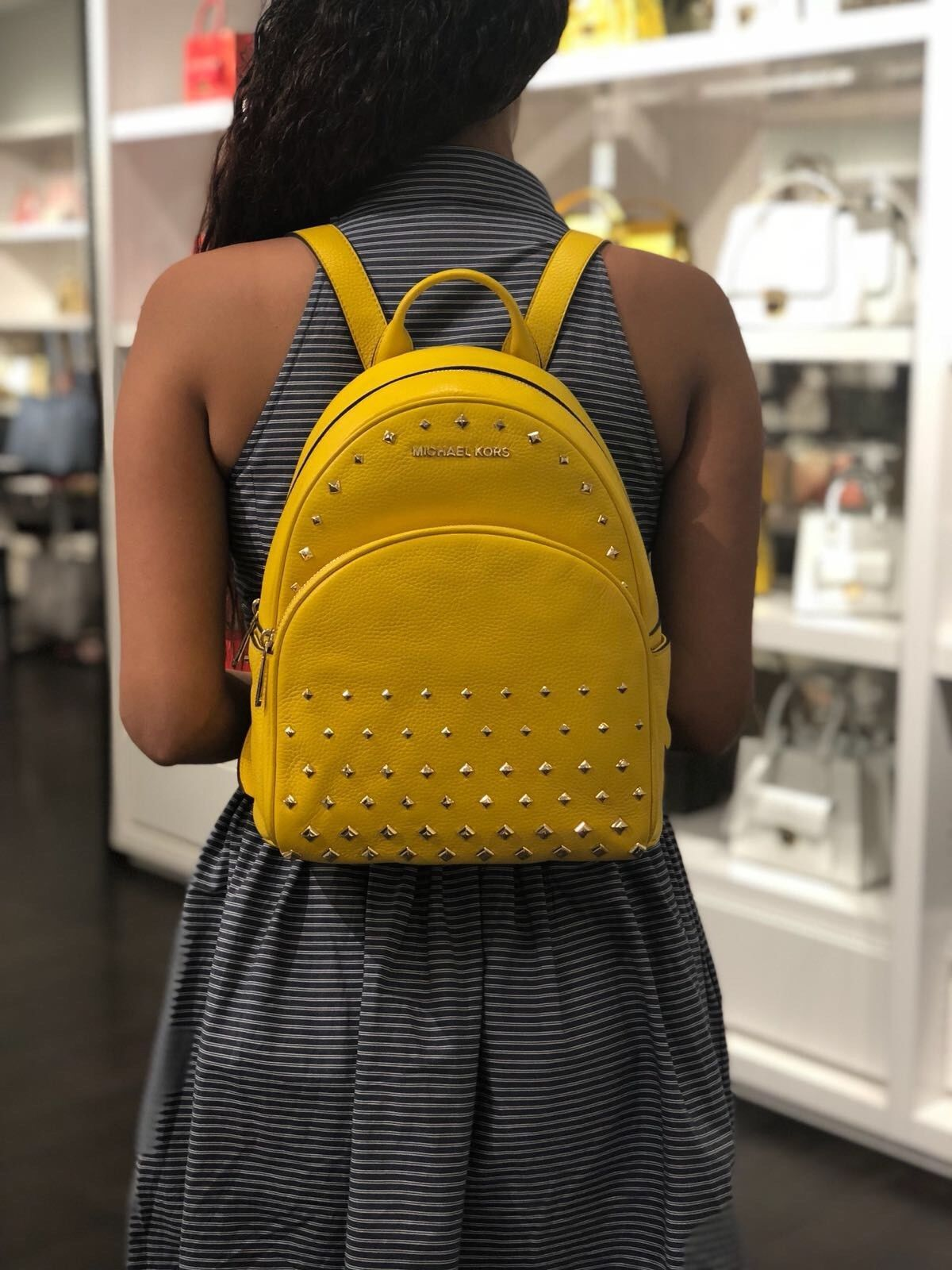 f23a43a16910 S l1600. S l1600. Previous. NWT MICHAEL KORS ABBEY MEDIUM STUDDED BACKPACK  LEATHER CITRUS. NWT MICHAEL ...