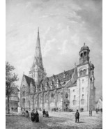 FRANCE Cathedral of Autun - SUPERB Litho Antique Print - $21.42