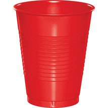 16 oz Solid Plastic Cups Bulk Classic Red/Case of 600 - $118.12