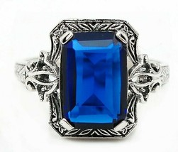 4CT Blue Sapphire 925 Sterling Silver Edwardian Look Ring Jewelry Sz 6, ... - $29.69
