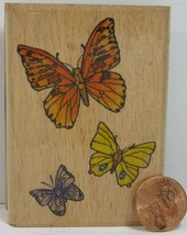 """Rubber Stamp Stampcraft 440H19 Three Butterfly's 3X2""""   BD2 - $4.99"""