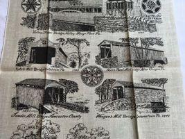 VTG NOS Kay Dee PENNSYLVANIA COVERED BRIDGES Linen Tea Towel image 4