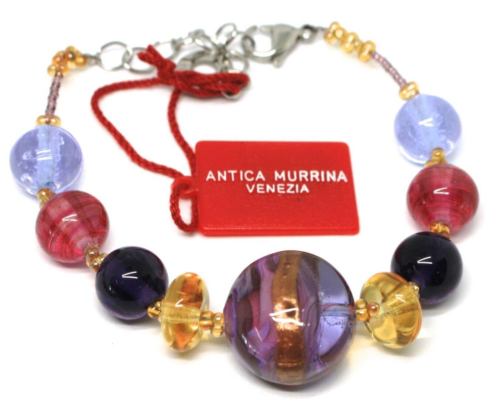 Bracelet Antica Murrina Venezia, Murano Glass, Disco Brindle Purple BR578A05
