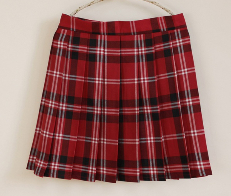 6b3ea3256fc RED PLAID Skirt Womens Plaid Pleated Skirt Campus Style Red Check Mini Skirt  NWT -  19.50
