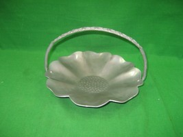Vintage Pewter Candy Nut Dish Tray Serving Bowl Dish Floral Design & Han... - $11.26