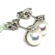 18K WHITE GOLD EARRINGS WITH WHITE ROUND AKOYA PEARLS 6.5 MM AND DIAMONDS image 2