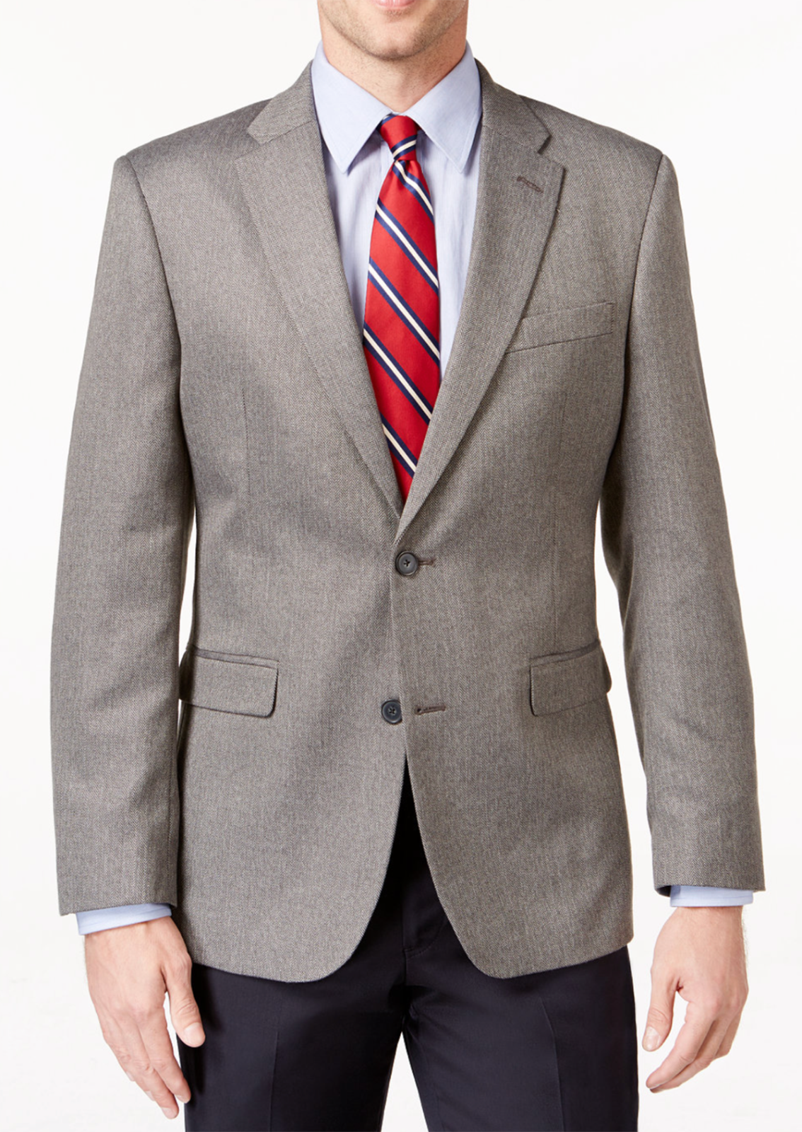 NEW MENS TOMMY HILFIGER TWO BUTTON GREY HERRINGBONE SPORT COAT BLAZER 40 L $295