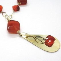 SILVER 925 NECKLACE, YELLOW, AGATE BROWN SQUARED, DROP PENDANT image 2