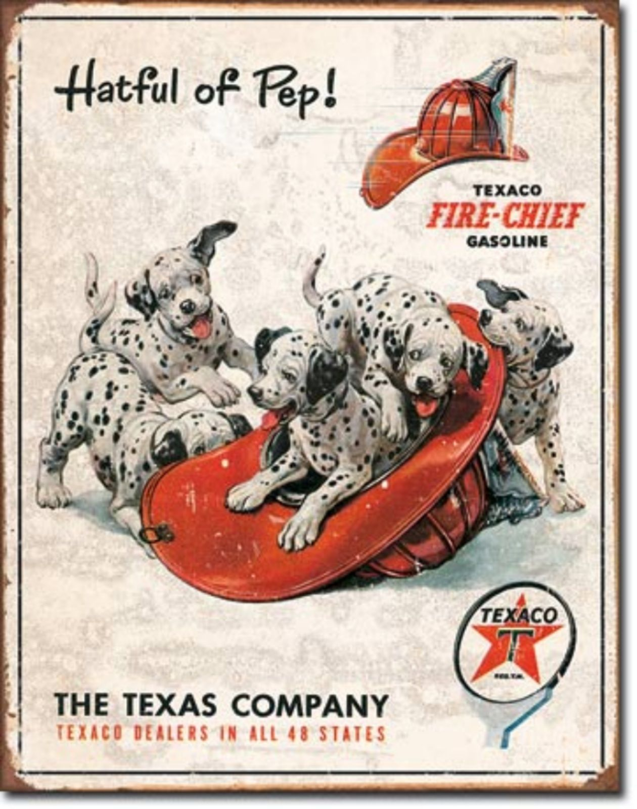 Texaco Gasoline Fire Chief Hatful of Pep Metal Sign Tin New Vintage Style #1928