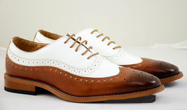 Handmade leather shoes for men Two tone leather shoes custom made shoes - $166.96