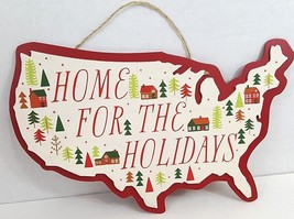 "United States Shaped Wood Plaque - ""Home For The Holidays"" - 13"" x 8"" - $9.99"