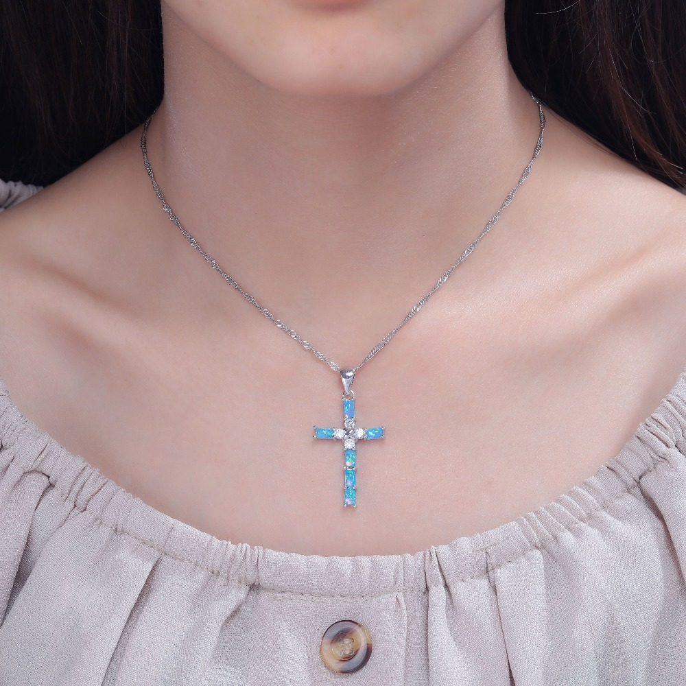 White & Blue Cross Opal Pendant & Necklace Silver Plated Gem Crucifix Charm With image 2