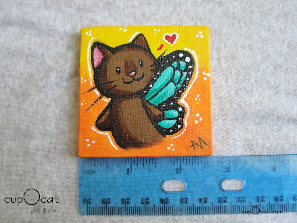 Little fairy cat - A brown fairy kitty with blue wings (Mini painting w/easel)
