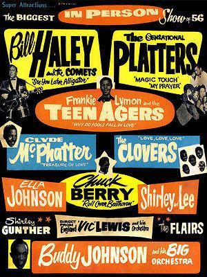 Primary image for Bill Haley - The Platters - Chuck Berry - Frankie Lymon - 1956 - Concert Poster