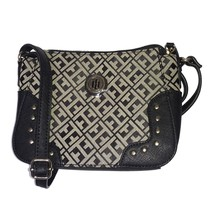 TOMMY HILFIGER Jacquard Handbag/Purse/Bag Womens Black Studded NEW NWT $69 - $39.95