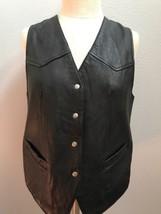 Gap Black Leather Vest Snap Button Sz S - $16.82