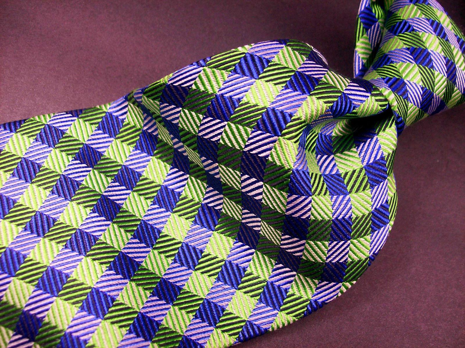 GEOFFREY BEENE  Green/blue  Mini PLAID   Mens 100  SILK  Necktie 8-1027