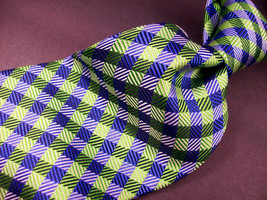 GEOFFREY BEENE  Green/blue  Mini PLAID   Mens 100  SILK  Necktie 8-1027 - $15.99