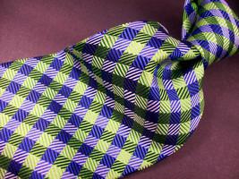 Geoffrey Beene Green/blue Mini Plaid Mens 100 Silk Necktie 8-1027 - $15.99